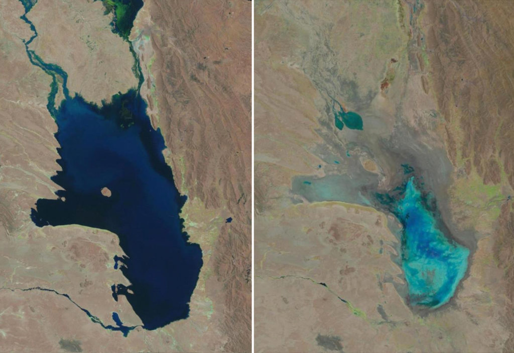 This photo combo of satellite images provided by the USGS shows Lake Poopo filled with water on Oct, 11, 1986, left, and almost dry on Jan. 16, 2016, right, in Bolivia. As Andean glaciers disappear so do the sources of Poopo's water. Along with glacial melting, authorities say another factor is the diversion of water from Poopo's tributaries, mostly for mining but also for agriculture. (USGS via AP)