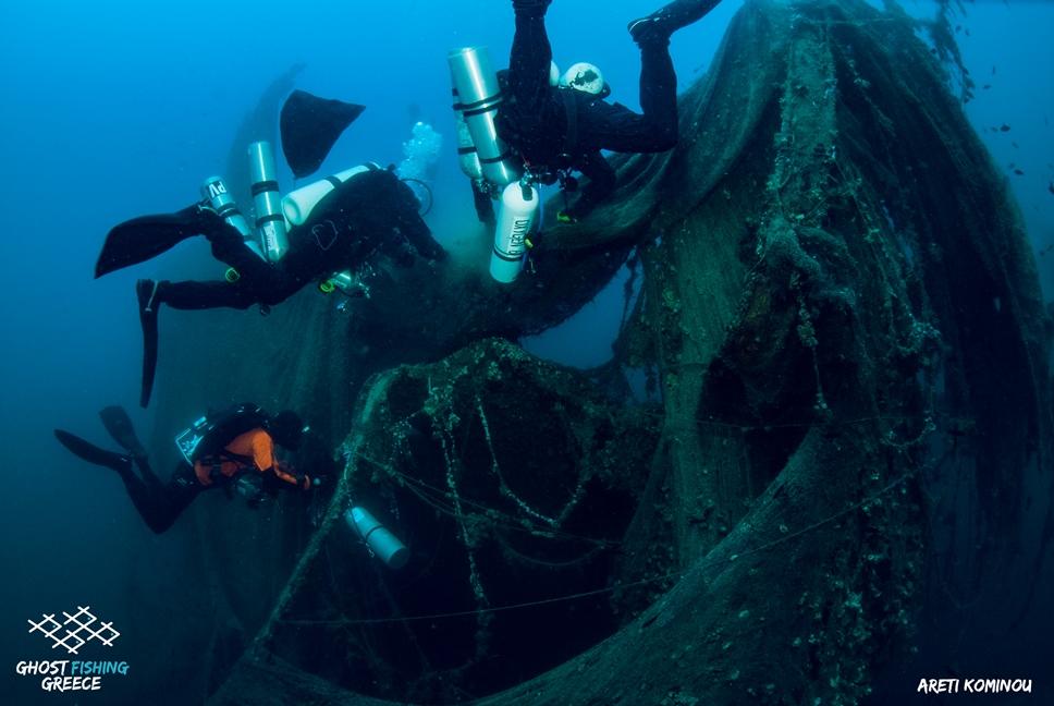 Rete recuperata al largo di Santorini (Grecia)