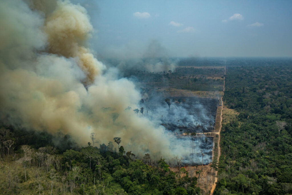 CANDEIRAS DO JAMARI, RONDÔNIA, BRAZIL: Aerial view of a large burned area in the city of Candeiras do Jamari in the state of Rondônia. CANDEIRAS DO JAMARI, RONDÔNIA, BRASIL: Imagem aérea de uma grande área queimada na cidade de Candeiras do Jamari no Estado de Rondônia. (Foto: Victor Moriyama / Greenpeace)