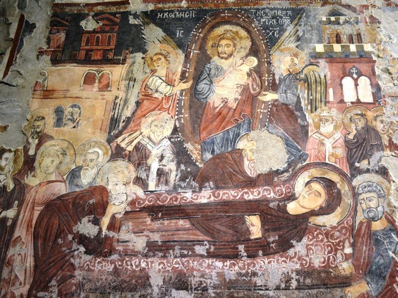 """Affresco bizantino della """"Dormitio Virginis"""" ubicato nella chiesa di Santa Maria del Rogato di Alcara Li Fusi"""